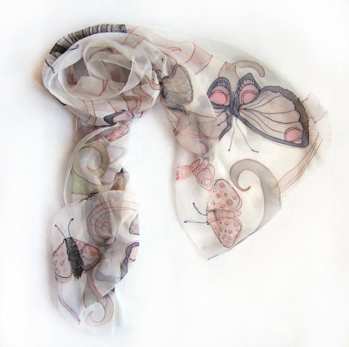 (via hand painted silk chiffon scarf The Butterfly by klaradar on Etsy)