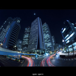 03/01/2012: West Shinjuku Fish-eye #creative366project on Flickr.I wanted to shoot this view with a fish-eye. I had shot an image with my Panasonic LX3 two years ago, but I couldn't capture the entire view of the buildings. See how the view looks different: bit.ly/y6ZCXF Camera: Panasonic Lumix DMC-GH2 Lens: Samyang 7.5mm f/3.5 UMC Fish-eye MFT