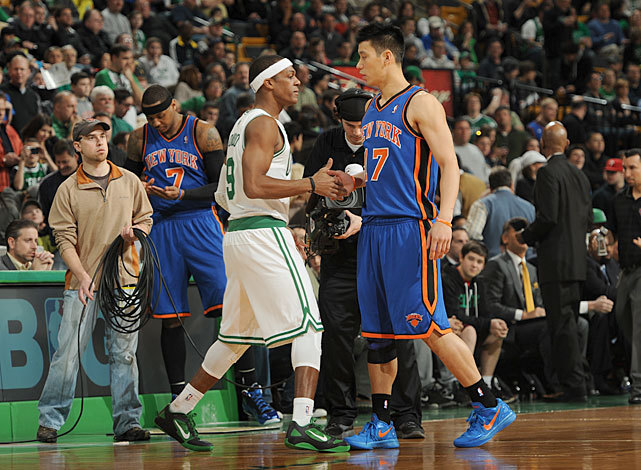 "Rajon Rondo shakes hands with Jeremy Lin before Sunday's Celtics-Knicks game. Rondo dominated his counterpart, recording 18 points, 20 rebounds and 17 assists in a 115-111 overtime victory. (Brian Babineau/NBAE via Getty Images) THOMSEN: Should Celtics trade Rondo after monster game?VIDEO: Shaq, Barkley on whether Lakers should pursue RondoTRUTH AND RUMORS: Knicks planning ""two-headed monster"""