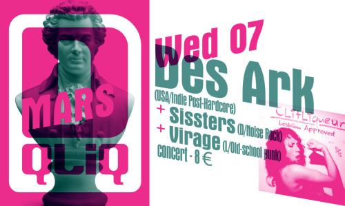 This Wednesday! Des Ark (USA) + Sissters (G) & Virage's very first gig (L) !