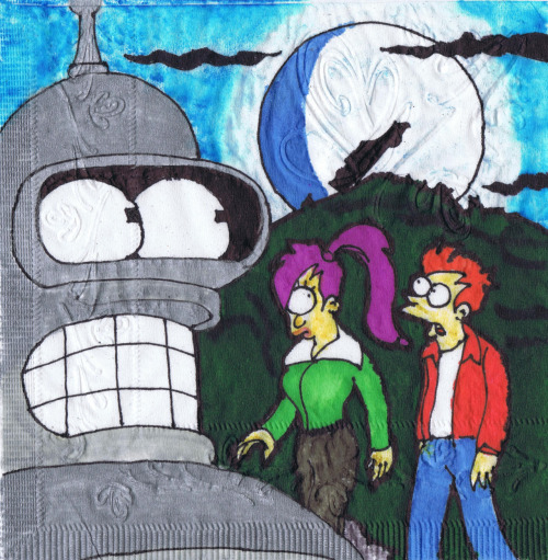 kmkirby:  Curse of the Werecar!  Futurama napkin art.