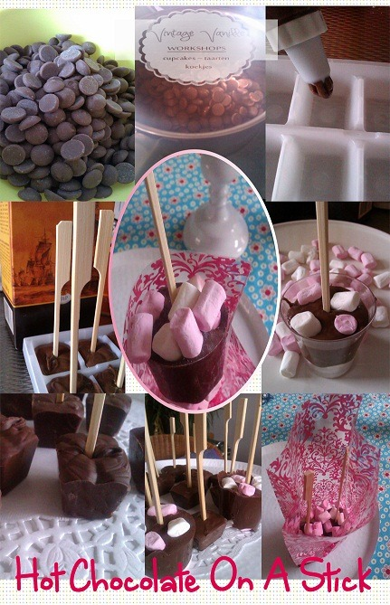Hot Chocolate on a stick Recipe  My recipe[makes +/- 10]225 g milk chocolate chips [you can use what ever you would like… most people prefer bittersweet]1/4 cup cocoa1/2 cup powdered sugara pinch of saltsticksIce Tray *Sift sugar & cocoa in bowl / set aside*Melt the chocolate until 3/4 is melted …au bain marie (bowl above hot water is fine) *Remove from heat and continue to stir until all of the chips are melted*Add the sugar/cocoa mix & salt*Then using a piping bag or a ziploc bag fill the ice cube trays[I also use plastic shot glasses]Let the mixture cool of a bit and then add the sticks. [keep in mind your mug size when deciding which length of sticks to use]Place them now in the fridge. I let them set there a few minutes then check that the sticks are still straight. I repeat this until I am sure they will not fall over.Then heat milk and make some hot chocolate.OptionsI sometimes add cinnamon, espresso powder, chili powder & flavouring such as mint or vanilla. Marshmallows can be added into the trays as well.To give them as a gift place them in plastic gift bags with some marshmallows.You can also add flags to the sticks to make them more festive.Enjoy ♥Teresa (www.vintagerosebrocante.com)