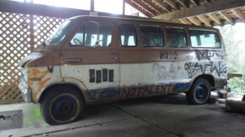 The van that Kurt Cobain drew a mural of Kiss on the side of is up for auction. (via Van With Kurt Cobain Sharpie Artwork Listed On Ebay)