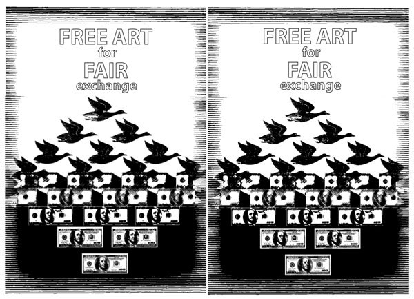 OPEN CALL: FREE ART FOR FAIR EXCHANGE AT THE 2012 ARMORY SHOWPiers 92 & 94, New York CitySaturday and Sunday, March 10th & 11th1-4pmFB event page Occupy Museums invites all artists and non-artists to join a mobile exchange art fair on the sidewalk outside of this year's Armory Show in New York City. Participants are encouraged to bring items such as paintings, drawings, sculpture, conceptual art, crafts, food, and other objects to exchange with Armory attendees and each other. We particularly welcome modes of exchange are not based on profit.Initiated in 1994, the current Armory Show shares a name with the famous 1913 Armory Show in which important avante garde works such as Duchamp's Nude Descending a Staircase were exhibited to the US public for the first time. While the 1913 show stands for the shock of the new, the current Armory Show stands for the economic shocks administered by the 1%. While unemployment and foreclosure continue to spread, the luxury markets, including Sotheby's auction house and the Armory Show, have experienced rapid growth in line with the booming bonuses on Wall Street.As the world of art and culture develop within this system of manufactured inequality, culture becomes equated more and more directly with financial capital. Rather than fostering new creative possibilities through collaboration, the dominant institutions of the art world divide artists and antagonize them through competition. Conflicts of interest, tax dodging, and chandelier bidding practices, which give the false sense of value that arbitrarily inflates prices, are part of this practice. The wealthiest 1% exploit our art and culture for their personal gain. Artists and art-lovers are left wanting.Amidst this crisis, we offer an experiment in systems of art-exchange that do not emphasize financial capital, but rather celebrate abundance and connection. We believe that art is not a commodity for speculation but rather a fundamental part of the commons, inherited and shared by all. We invite all the 100,000+ artists in New York City to join us outside of Piers 92 and 94 to engage in a new kind of art market.Booths at this fair are free of charge.Occupy Museumswww.occupymuseums.org/ occupymuseums@gmail.com/ #occupymuseumsPlease forward this invite widely.