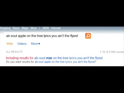 This is what happens when I try to look up a song by the lyrics.. finding out that Bing does in fact hate Apple -_-