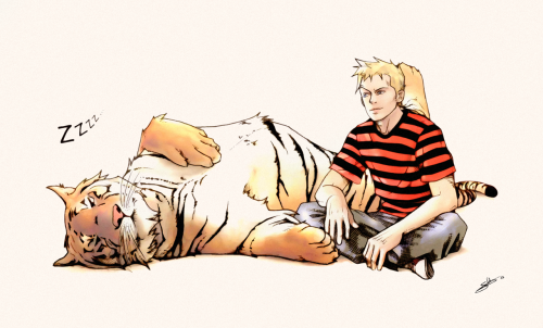 Calvin and Hobbes is probably still my number one favourite comic strip. I love stumbling across art of them grown up, like this beautiful piece by Nami86.