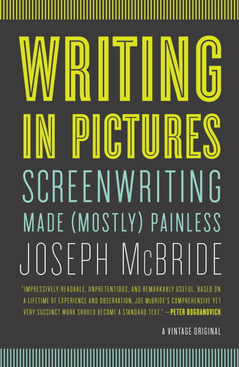 "vintageanchor:  10 Tips for the Screenwriter by Joseph McBride, author of WRITING IN PICTURES…1. Don't write what we can't see or hear: If I can leave you with one basic rule about screenwriting, this is it. Once you keep this point firmly in mind, you will be writing in cinematic terms. Cinema can't show the invisible, and a script should avoid nebulous concepts. So don't tell us about what happened to characters in the past (the backstory) or tell us things about them the viewer can't glean from the images or dialogue.2. Don't tell us what people are thinking or feeling or remembering unless you can show it: Descriptive passages in a script that delve deeply into a character's feelings or thoughts risk irrelevancy. They are usually a crutch for failing to dramatize your story. How do you convey the interior life of your character without spelling it out in dialogue or resorting to a crudely explanatory flashback? This is one of the most complex questions facing a screenwriter.3. Don't overdo dialogue: Robert Towne advised students at the American Film Institute, ""Generally speaking, the process of writing a screenplay is figuring out how to keep the dialogue as spare as possible."" Try to think of a scene first in visual terms and only resort to dialogue when it is truly necessary. Not that there's anything wrong with strong, colorful dialogue, as long as the narrative keeps moving. But it's too easy to fall into the trap of turning your movie into lifeless and static-looking scenes. Alfred Hitchcock complained that most movies resemble filmed plays; he scorned such works as ""pictures of people talking."" What he preferred – and what is hardest to create – are pictures of people [itals]thinking[itals].4. Don't underdo dialogue: It's unfortunate that many films today, especially action films, seem to regard actual conversation as an audience turnoff. Characters who don't talk much can be interesting, if the talk is well chosen and expressive. But inarticulate characters can also be cartoonishly dull. Even the characters in an action movie can talk with wit and brio, as James Bond movies have been demonstrating for decades. Because we have become so accustomed to thinking of cinema as ""a visual art form"" and to exalting directors over writers, we tend to downplay the importance of words in filmmaking.5. Keep scenes short (usually): When I started writing feature screenplays, I tended to write twenty-page dramatic scenes, no doubt influenced by the fact that I'd read a lot of stageplays and only a few screenplays. Scenes in modern films tend to be short – two or three minutes is a substantial length for a scene, and some scenes can be only a few seconds long. Occasionally a scene can run longer than a few minutes. The length of the scenes should not always be the same, because that quickly becomes monotonous and predictable; structure your script with a musical rhythm, varying the pace and decelerating or accelerating it as the story demands.6. Don't show everything that happens in the story: As William Goldman puts it in John Brady's interview book The Craft of the Screenwriter (http://www.johnbrady.info/AboutBrady.html), ""Ruleof thumb: You always attack a movie scene as [itals]late[itals] as you possibly can. You always come into the scene at the last possible moment.""7. Use the helpful devices available to writers in the professional screenplay format: Clear and creative use of scene headings keeps the script easy to follow and gives a sense of visual variety and movement. Transitional devices (""CUT TO:,"" ""DISSOLVE TO:,"" ""FADE OUT,"" etc.) should be used when you go from one place to another or from one time period to another. These devices are some of the ways that have evolved over the years to make a screenplay a quick read. Screenwriter Sam Hamm says that's the first job of the screenwriter, ""to keep the reader's eye moving down the page.""8. CLARITY!: That's the virtue Alfred Hitchcock stressed most in directing. The same applies to screenwriting: If your script is not clearly written, it won't tell the story in a way the reader can follow. Clarity is the quality most conspicuously lacking in most bad writing. Put a sign above your desk reading ""CLARITY.""9. Write good English: If your script is riddled with writing errors, the reader will quickly lose confidence in your abilities and become distracted from the story you are trying to tell. Many professional screenwriters are not the most polished writers, but there is a certain minimum standard of legibility that must be maintained in the professional world, or the script will be cast aside.10. Don't write an epic unless you're working for Steven Spielberg or Martin Scorsese: When I arrived in Hollywood, I found myself witnessing a strange native ritual. The first thing a producer or reader would do with a script, instinctively, was to pick it up and ""weigh"" it. Literally weigh it. Professionals develop a keen sense of how a professional script should feel in their hands. If it's too heavy, the script starts life with a strike against it. It has little chance of being read with care or read at all.Read more at Word and Film.  I'm taking two screenwriting classes now. These are all very good into tips for the medium. The first rule on this list - 300 loved breaking that one. They were very fond of mentioning scent - probably because the screen directions were pulled right from the comic. - That was the least of the problems with the 300 script… If you want to take a crack at screenplay, your first step should be downloading celtx - its the best free screenwriting software - so at least you can get a feel for the format."