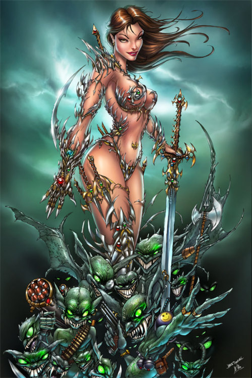 fuckyeahtopcow:Witchblade and the Darklings by jamietyndallHere is the colored version of my Witchblade. Colored by the amazingly talented Urszula. The original inks are at [link]Both colors and inks are available for sale. Just contact me through my website at [link]Colored by the very talented Urszula Aka SinhaliteHere is a link to her deviant site check her out. She is an artist to add to your watch list.