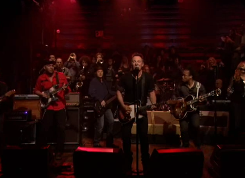 "latenightjimmy:  If you missed this epic performance of ""E Street Shuffle"" from Bruce, The E Street Band and The Roots, you HAVE to watch it here. (SPOILER ALERT: the studio audience joined Bruce on stage.)"