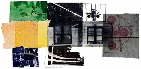 "Robert Rauschenberg's ""5:29 Bay Shore"" is one of 27 works in the exhibition ""Prints Please: Selections From Universal Limited Art Editions (U.L.A.E.)"" at Islip Art Museum. On view until March 25, the show is intended to celebrate the history of U.L.A.E. as a prominent local arts business.→ If you're in the area, don't miss a private tour of the U.L.A.E. studios in Bay Shore on March 23 at 4 p.m. ($15 per person). It will be followed by a free reception at the museum. →"