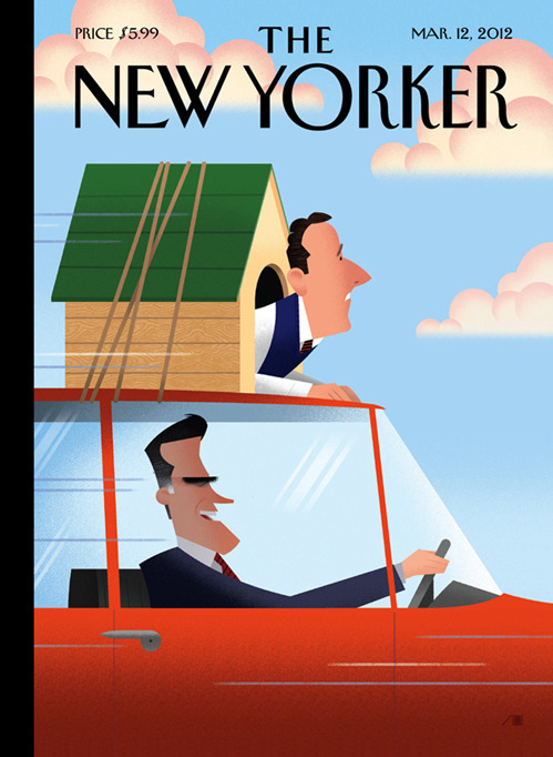 "think-progress:  nevver:  The New Yorker  Today, Mitt Romney said ""You can't drive a car with a windmill on it."" Oh, you make it too easy.    I hate to think what'll happen to the back of the GOP's car a few hours in…"