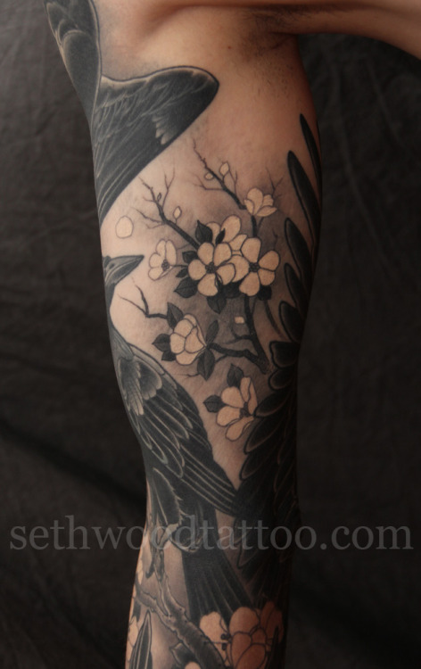 sethwoodtattoo:  Chad's crows (pt 4). White cherry blossoms.