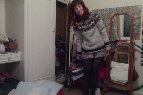 My Mum knitted me an icelandic jumper (a Lopapeysa) from Icelandic wool that I got in Iceland!  Isn't it glorious?! My Mum has mad knit skillz.