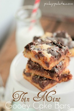 gastrogirl:  girl scout cookie thin mint gooey cake bars.