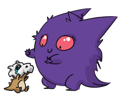Not sure if Gengar is about to help up the Cubone, or just dropped it :c