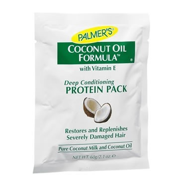 Beauty on a Budge Pt 2 Palmers Coconut Oil Protein Pack: 1.77 Yielded better results than the ojon hot oil treatment, or any other I have ever used. It's a conditioning oil pack that I usually apply as a hot oil, except I don't shampoo afterwards. You get enough for two (thick or coarse hair) to three applications (normal) per pack.  So far this is the best deep conditioning home treatment I've ever used, with only the salon Kerastase treatment as it's rival.