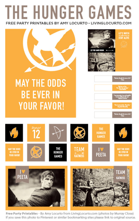 The Hunger Games party and bookmark printables from Living Locurto.