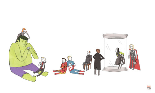 gingerhaze:  Tiny Avengers hangout! So tiny. Don't know why I've been drawing so tiny lately. Click here for big!  60 more days!