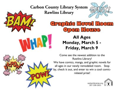 If you happen to be in Wyoming…stop by the Rawlins Library this week to check out the new Graphic Novel Room, and enter to win a prize!       See more exciting & innovative library programming on the Carbon County Library System Facebook page: http://www.facebook.com/pages/Carbon-County-Library-System/247721211431