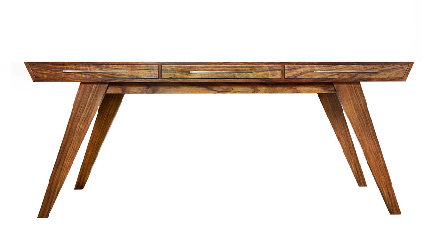 Handmade Desk - Brazilian Walnut Wood with Oxidized Bronze Handles Model: Xoida