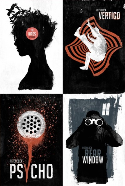 These posters of Alfred Hitchcock films by Laz Marquez are described as retro, or retro-modern. I'm not really sure - but only because it's such a different aesthetic to Eric Tan's (which has an Art Deco sensibility to it). I suppose it's the limited, repetitive palette - black, red, and white - that really evokes the 'old' style. Otherwise, the graphic concepts seem quite contemporary. The layering of the female silhouette with birds emerging from the hair, for instance, feels post Photoshop, not 'retro'.