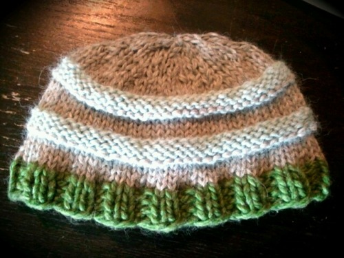 "Hand-knit hat I whipped up in one afternoon. A variation on the ""Wurm"" pattern on Ravelry."