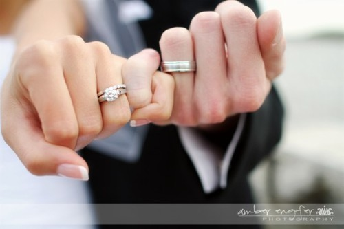 soyouretheone:  Pinky swear, showing off their wedding rings.