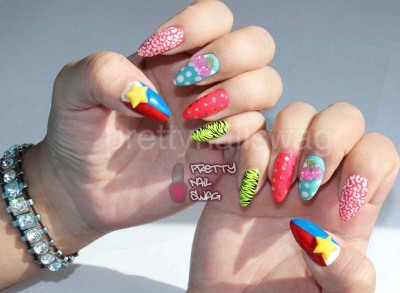 prettynailswag:  Crazy mixed mani and some Philippine pride…Forever tryin to find a good way to watermark my shit #LeSigh