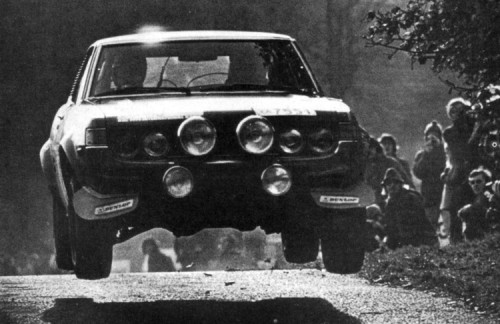Toyota Celica 2000 GT Driven by Ove Andersson during the 1973 RAC Rally.    PS.: I really hope I didn't mix this one up, for I am overwhelmingly drunk at 5am writing this. If so, I deeply apologize.