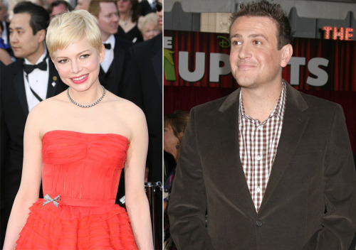 montagues:   Michelle Williams and Jason Segel looked like they were on a date last week at Chateau Marmont. At first they were there with Busy Phillips. Busy left early. Michelle and Jason stayed on their own for a few hours after. She was in great spirits. He made her laugh a lot. They drank several glasses of wine, she chained off several cigarettes, seemed very relaxed, and happy. He paid at around 1:30am and was convincing her to stay out. She kept protesting like it was too late and he was all - what? This is early! And after giggling together, she seemed to agree. The two exited together through the side …