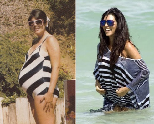 celebuzz:  Kris Jenner and Kourtney Kardashian: Baby bumps then and now…