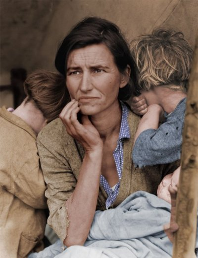 Migrant Mother colorized   (how does this change how the image reads…does it shift the sense of the past  seen in black and white to a more contemporary sense of connection to this moment….does that change the meaning of the image?)