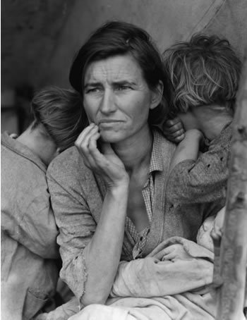 Dorothea Lange  Migrant Mother (1936) n a late afternoon and exhausted from photographing earlier as one of the photographers hired by the Farm Security Administration (FSA) to document the social condition as a result of the Depression, Dorothea Lange turned down a dirt road to investigate a migrant camp of pea pickers. In less than fifteen minutes, Lange was back on the road after making five exposures of a woman (Florence Thompson) and her children in the camp. One of these images, Migrant Mother, became a symbol of the Depression as well as one of the most iconic and important photographs in the history of photography.