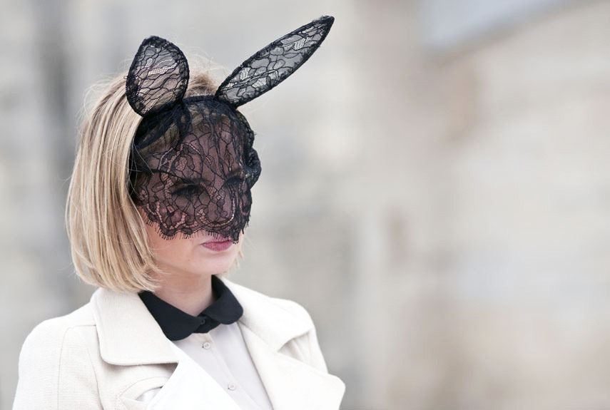 Bunnies in Paris! Don't miss the most memorable street style snaps from Fashion Week. Photo: Guerre