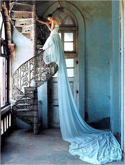 anthropologie:  Tim Walker's photo of the ultimate trailing dress.