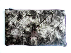 quilted batik zipper clutch