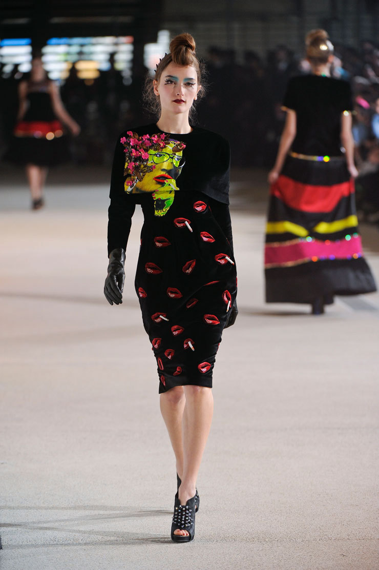 India-based fashion designer Manish Arora incorporated works by Brooklyn street artist Judith Supine in his Autumn-Winter 2012 line, shown last week in Paris. Talk about an unexpected collab.