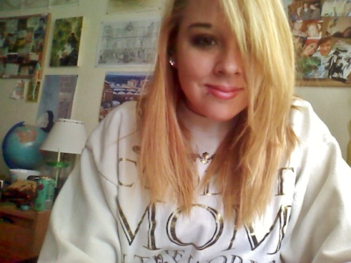 Wearing my mom's Coolest Mom in the World sweatshirt because she no longer loves me and doesn't want it.