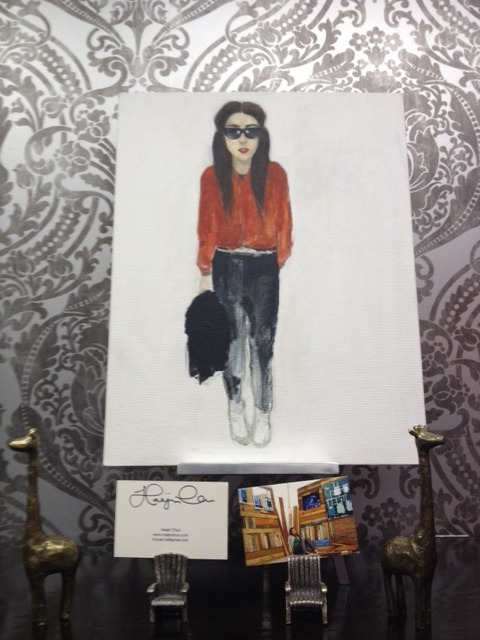 Street style fashion illustration by our newest in-store artist, Haejin Chun.  We love the fading-out blend of acrylic paint - especially since it gives off the look and feel of a watercolor. *Available for $75 at our Castro Store - or contact the artist directly