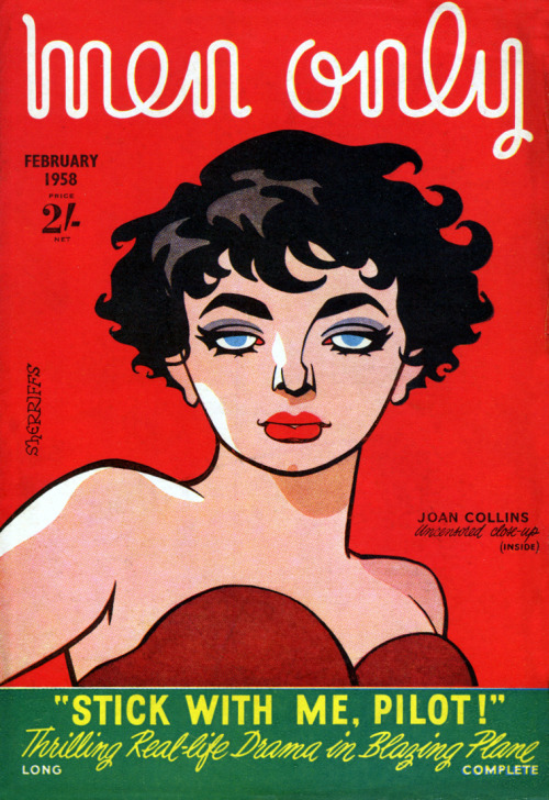 Illustration of starlet Joan Collins gracing cover of Men Only c1958