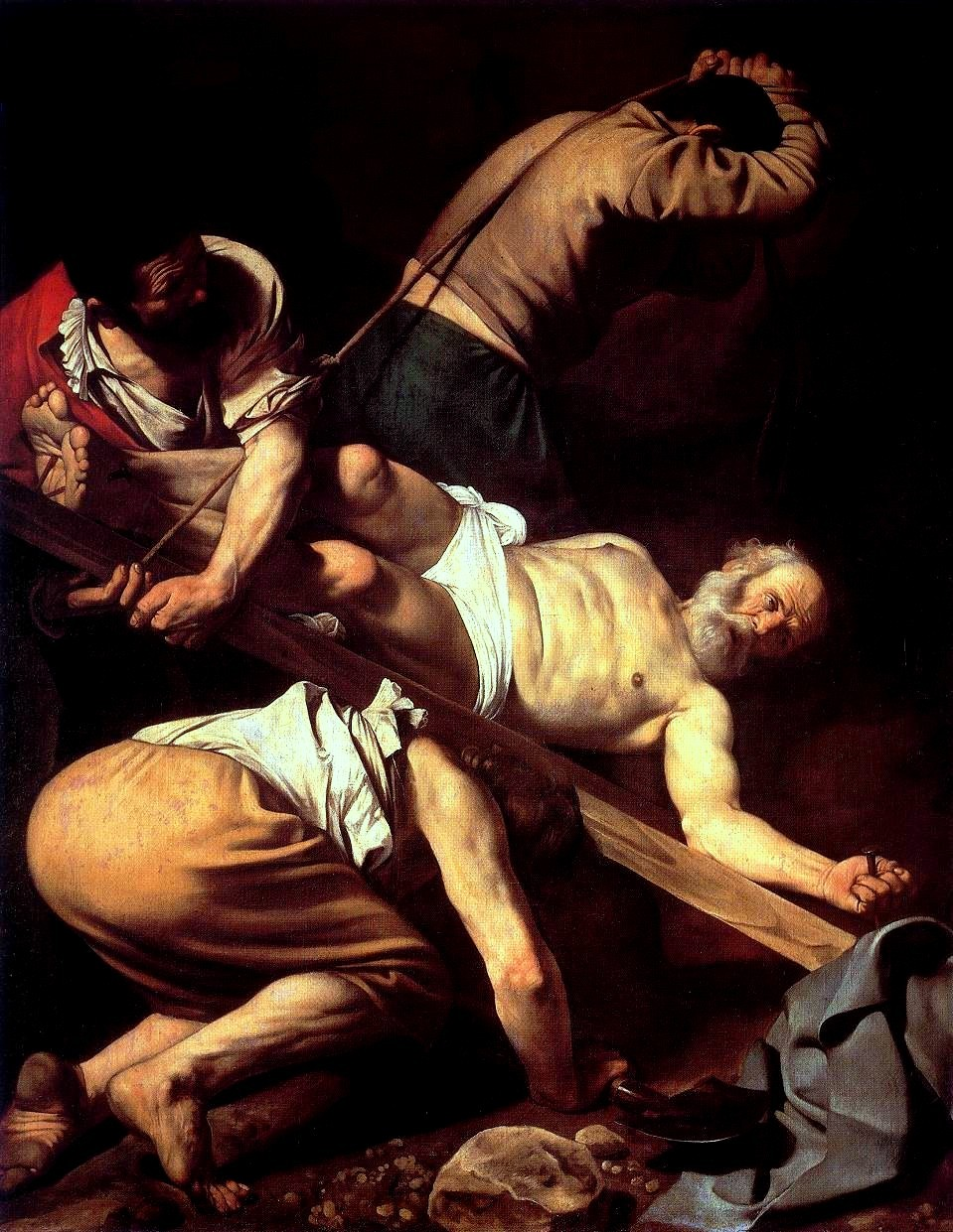 The Crucifixion of Saint Peter (1601) Cerasi Chapel, Santa Maria del Popolo, Rome | artwork by Caravaggio