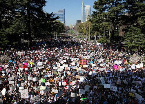 "latimes:  Thousands of students and activists marched through Sacramento's streets and rallied outside the state Capitol on Monday to protest cuts to California's colleges and universities. ""They say cut back, we say fight back!"" the students chanted while waving signs saying ""fund education, not war"" and ""cuts in education never heal."" The plaza on the west side of the Capitol was teeming with protesters during the rally, which was billed as a chance to ""occupy the Capitol."" Outside the building, student leaders and top Democrats who voted to slash higher education budgets last year addressed the crowd. Photo credit: Rich Pedroncelli / Associated Press"
