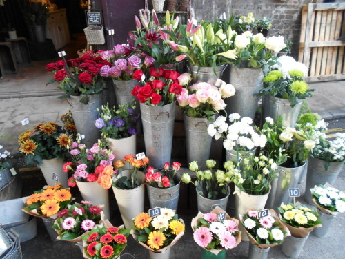 January 21, 2012  This morning Clair and I went to Borough Market. There is this one florist there and I love the arrangements that they do. This photo is of their loose cut flowers. They mades me think of spring.