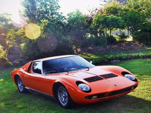 "definemotorsports:  1969 Lamborghini Miura P400 S - Imagine yourself in 1969 just chilling in front of your house when suddenly THIS COMES OUT FROM NOWHERE, this is one of the very first mid engined V12 road ""Supercars"" ever made, if not the first."