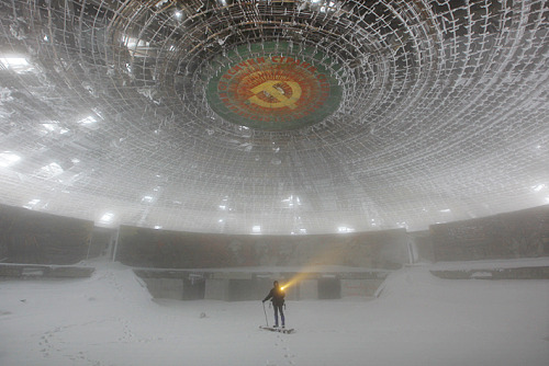 Buzludha is Bulgaria's largest ideological monument to Communism. Designed by architect Guéorguy Stoilov, more than 6000 workers were involved in its 7 year construction including 20 leading Bulgarian artists who worked for 18 months on the interior decoration. A small, compulsory donation from every citizen in the country formed a large portion of the funds required to build this impressive structure that was finally unveiled in 1981 on what was the 1300th anniversary of the foundation of the Bulgarian state.  Now it is abandoned.