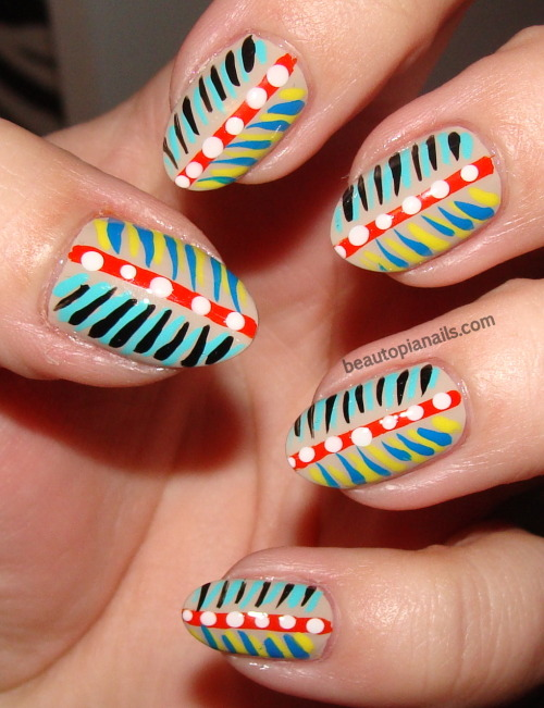 beautopianails:  Feathers and dots