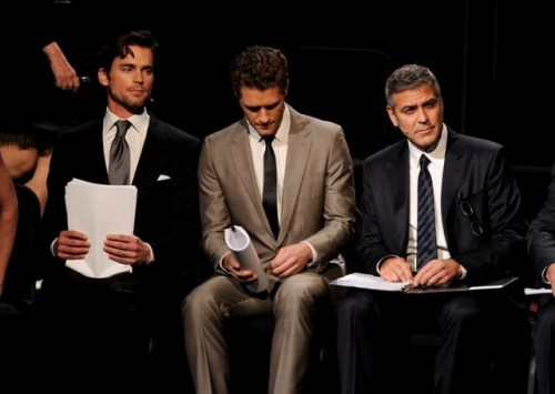 Matt Bomer, Matthew Morrison and George Clooney attend the one-night reading of '8' presented by The American Foundation For Equal Rights & Broadway Impact at The Wilshire Ebell Theatre.