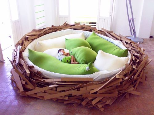 "thedailywhat:  Human-Sized Bird's Nest of the Day: The Giant Birdsnest from O*GE was designed to be a multi-purpose creativity space for ""creating new ideas."" Part furniture, part playground, the inspiration incubator comfortably seats 16 and ""needs no explanation or user manual"": Do whatever you want inside, just clean up after you're done. [gizmodo.]"