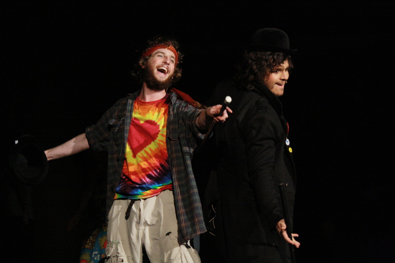 David Silpa as Jesus and Forest Neikirk as Judas University of San Francisco's College Players Presents Godspell