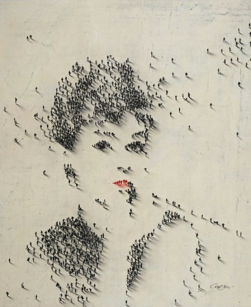 Audrey Hepburn by Craig Alan, people as pixels.